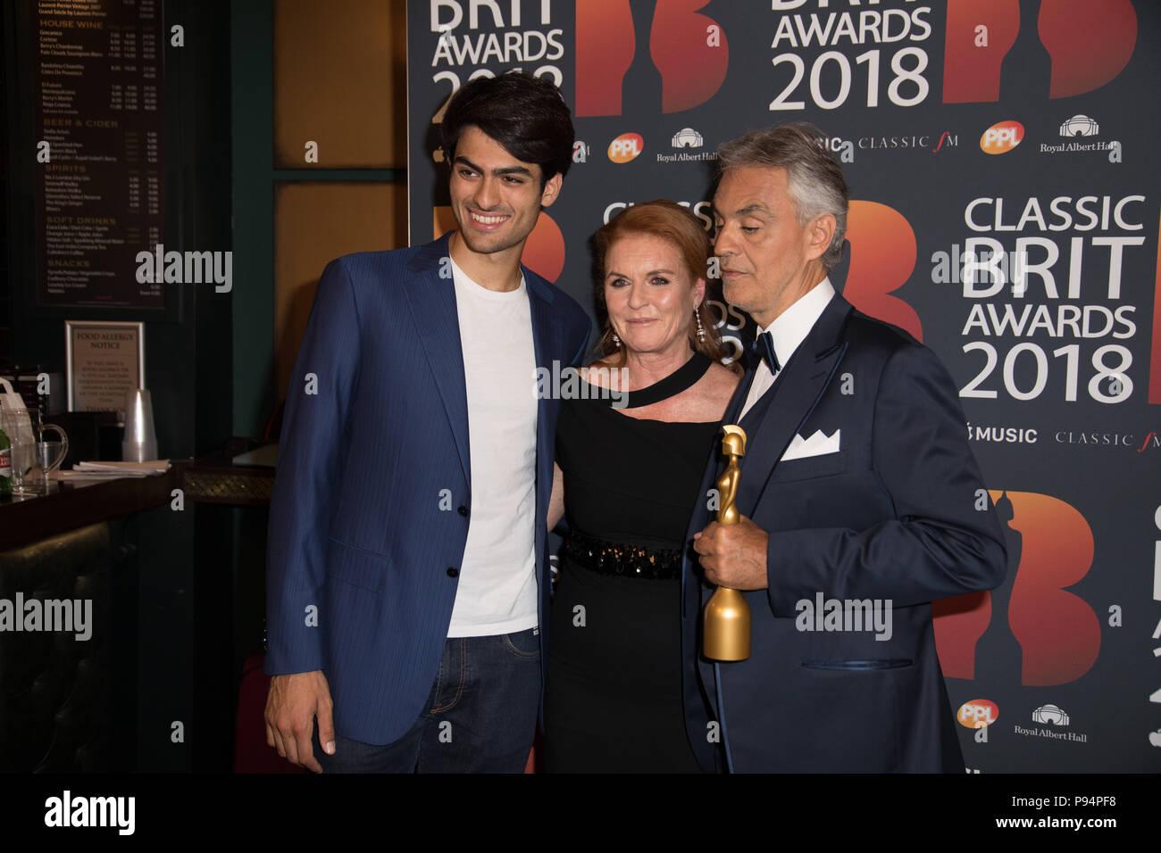 Red Carpet arrivals for the Classic Brit Awards 2018  Featuring: Matteo Bocelli, Sarah Ferguson Duchess of York, Andrea Bocelli Where: London, United Kingdom When: 13 Jun 2018 Credit: Phil Lewis/WENN.com - Stock Image
