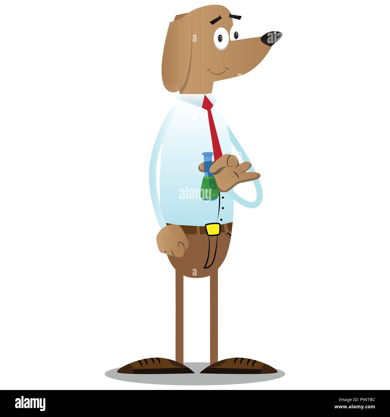 Cartoon illustrated business dog holding a test tube. - Stock Vector