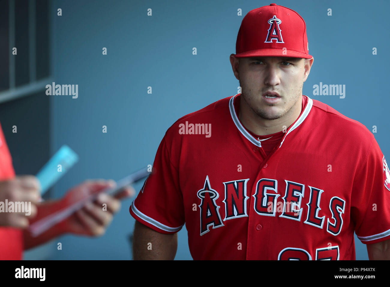 ca3615bac Los Angeles Angels center fielder Mike Trout (27) looks all business as he  enter the Angels dugout before the game between the Los Angeles Angels of  Anaheim ...