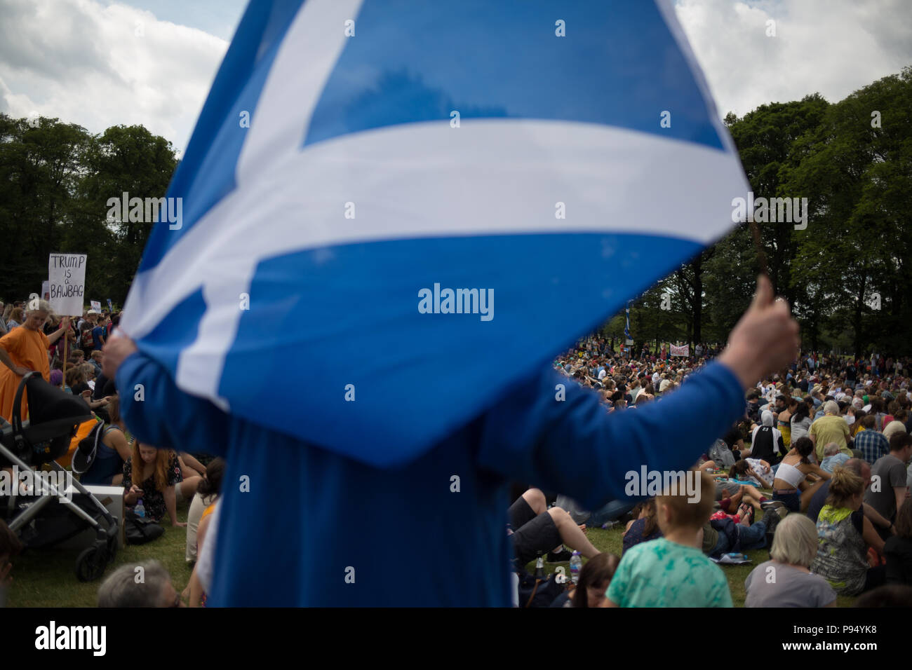 Edinburgh, Scotland, 14 July 2018. Carnival of Resistance anti-Trump rally, coinciding with the visit of President Donald Trump to Scotland on a golfing weekend, in Edinburgh, Scotland, on 14 July 2018. Credit: jeremy sutton-hibbert/Alamy Live News - Stock Image