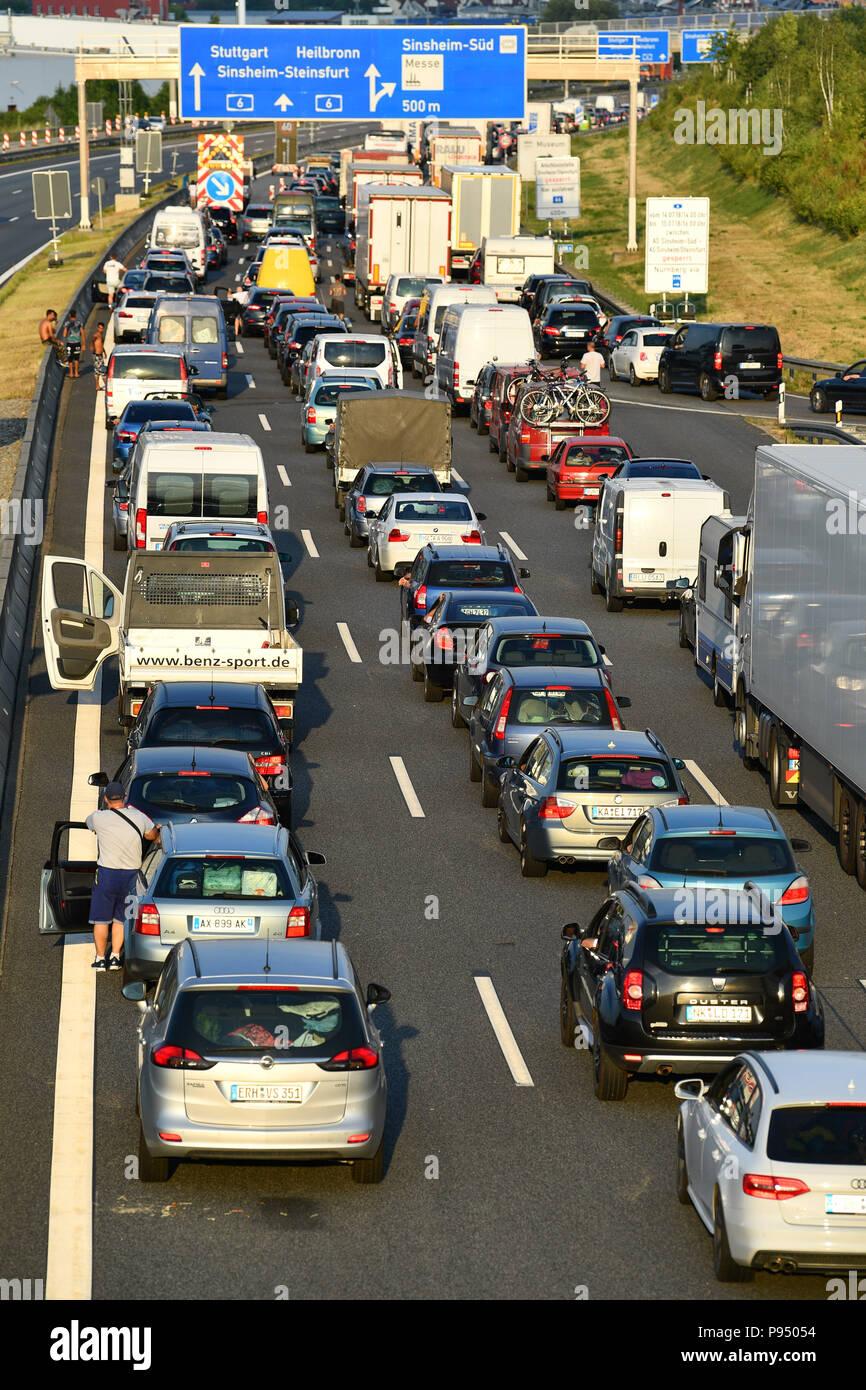 Sinsheim, Germany  14th July, 2018  Vehicles in a traffic