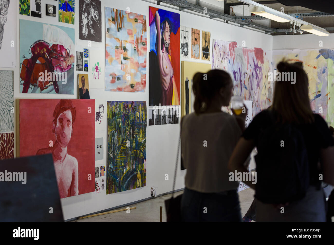 Berlin Germany July 14 2018 Visitors And Students Gather During The Presentation Of Art And Work In The Fields Of Sculpture Stage And Costume Design Painting Fashion Design Product Design Spatial