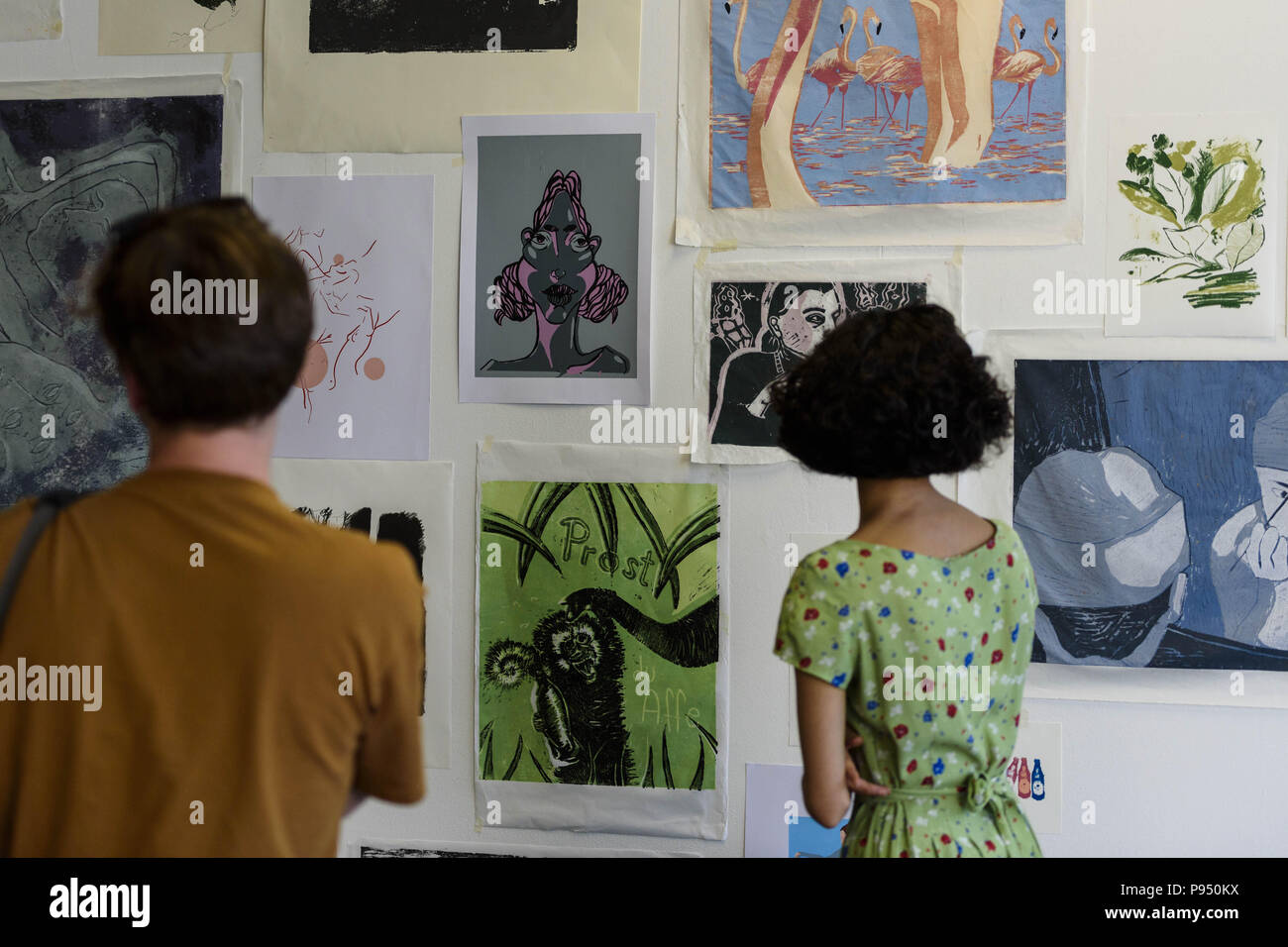 Berlin Germany July 14 2018 Visitors And Students Gather During The Presentation Of Art And Work