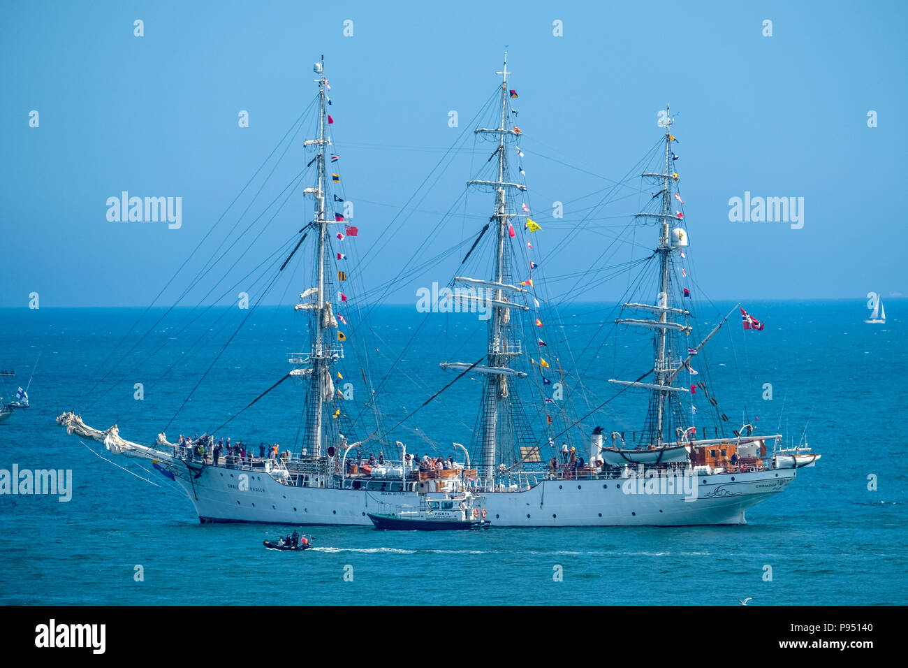 Sunderland, UK. 14th July 2018. The Christian Radich leaving the Port of Sunderland as part of the Tall Ships Race 2018 Credit: Tim Withnall/Alamy Live News - Stock Image
