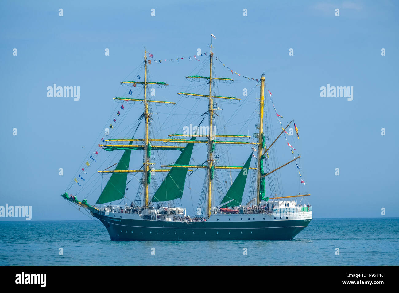 Sunderland, UK. 14th July 2018. The Alexander von Humboldt leaving the Port of Sunderland as part of the Tall Ships Race 2018  Credit: Tim Withnall/Alamy Live News - Stock Image