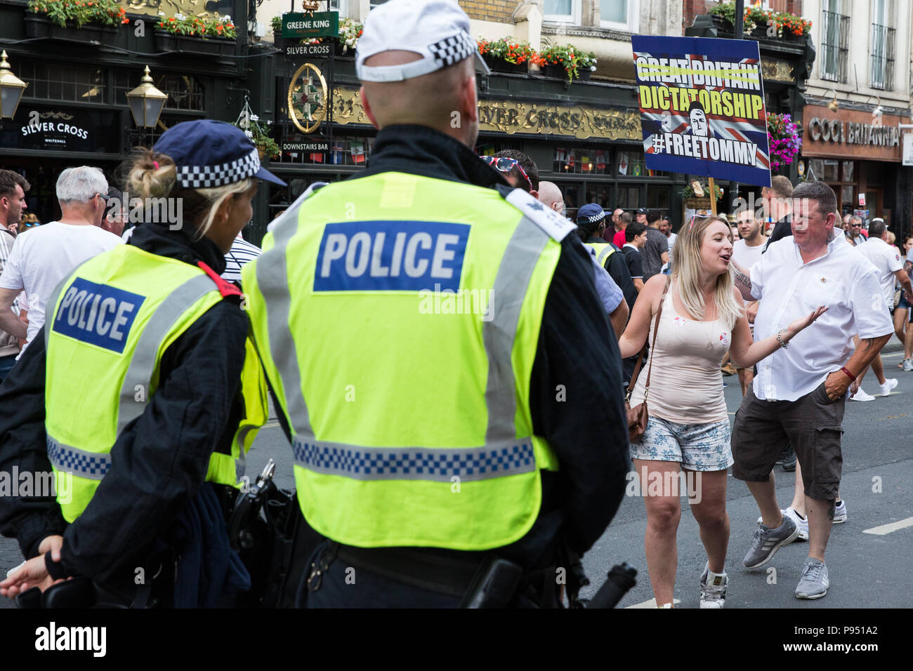 London, UK  14th July, 2018  Supporters of Tommy Robinson, the