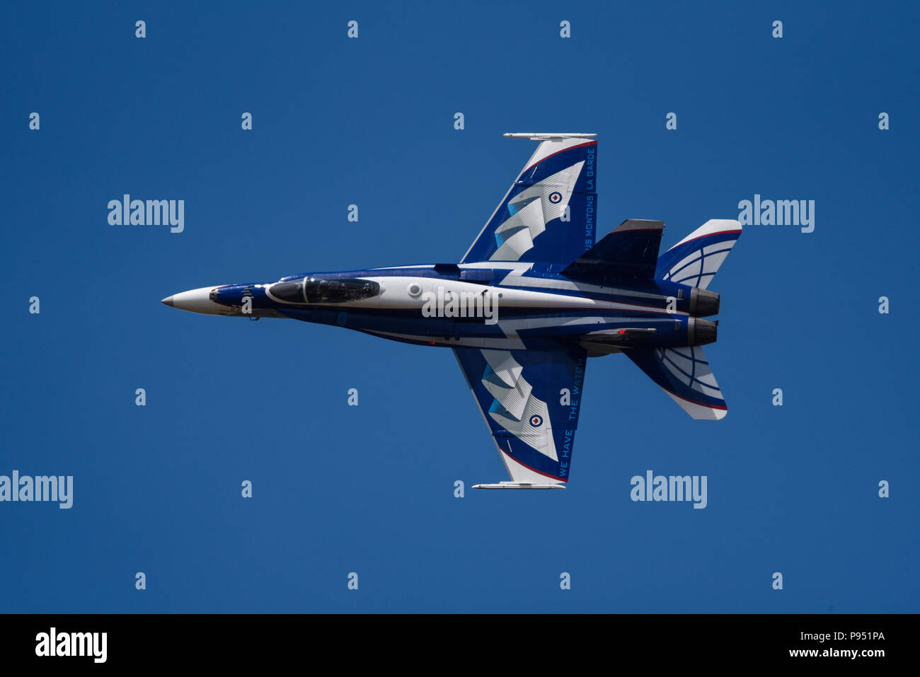 Specially painted Canadian F-18 Hornet at Royal International Air Tattoo, RIAT 2018, RAF Fairford. - Stock Image