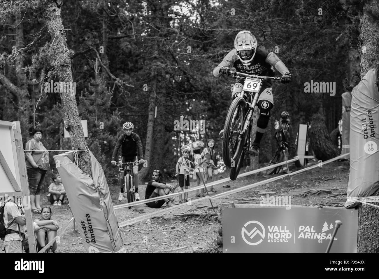 Vallnord, La Massana, Andorra. 14 July 2018. Downhill qualification sesion , UCI, Moutain Bike World Cup, Vallnord Andorra. 14/07/2018 Credit: Martin Silva Cosentino / Alamy Live News - Stock Image