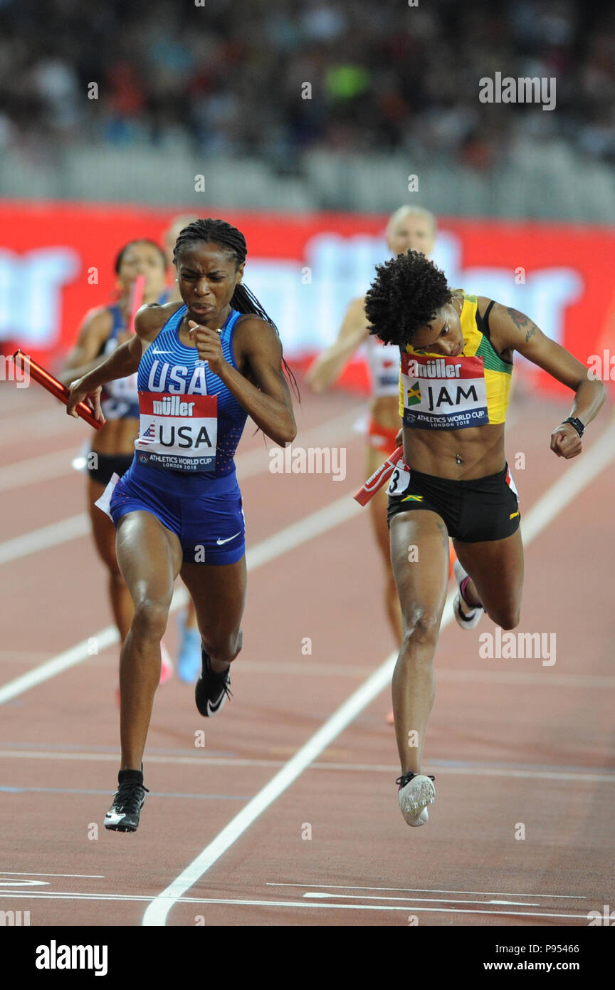 London, UK. 14th July, 2018. Team USA beat Jamaica into second place in the women's 400x400 metres relay in a time of 3:24.28 at the inaugural Athletics World Cup. Credit: Nigel Bramley/Alamy Live News Stock Photo