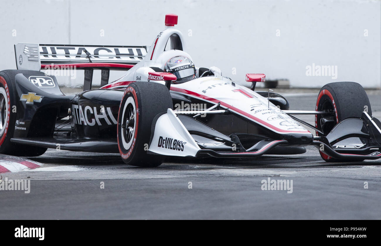 Toronto, Ontario, Canada. 14th July, 2018. Team Penskeu0027s Josef Newgarden  During Qualifying At The Honda Indy Toronto In Toronto, Ontario On  Saturday, ...