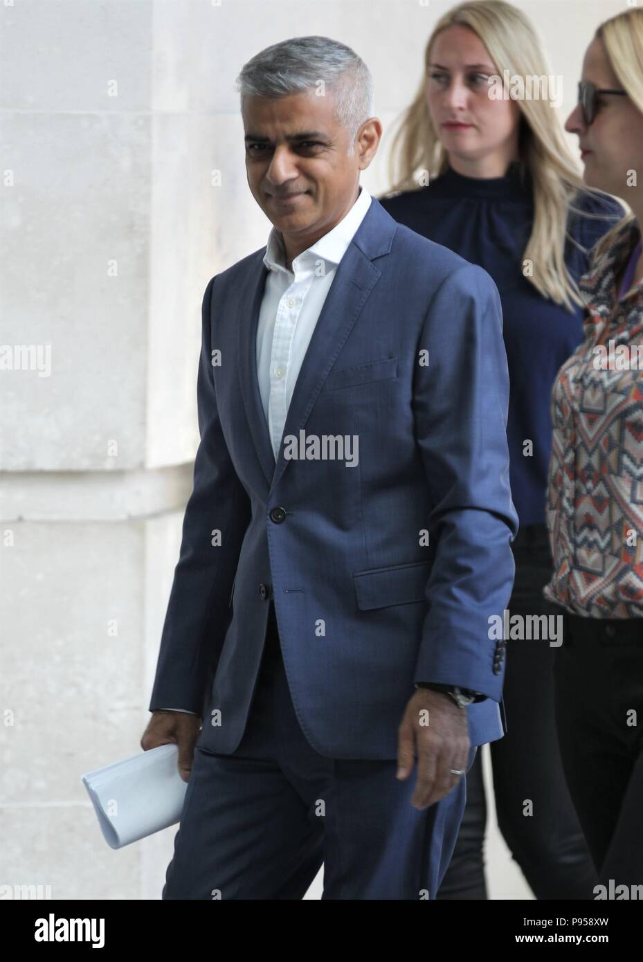 London, UK, July 15, 2018. Sadiq Khan Mayor of London seen arriving for the BBC Andrew Marr show at the BBC Credit: WFPA/Alamy Live News - Stock Image
