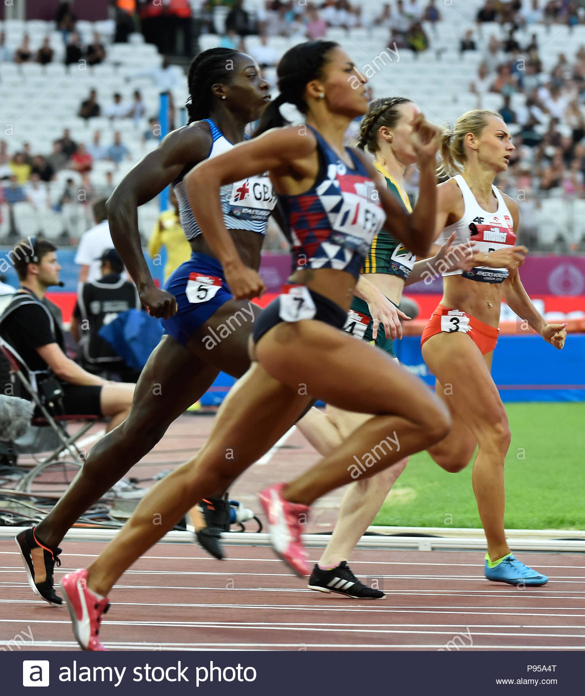 London, UK. 14.07.2018 Inaugural Athletics World Cup for the worlds best eight track & field nations at the Queen Elizabeth Olympic Park Stadium London UK Ladies 400m led by Justyna Swiety-Ersetic POL (3) Credit: Leo Mason sports photos/Alamy Live News - Stock Image