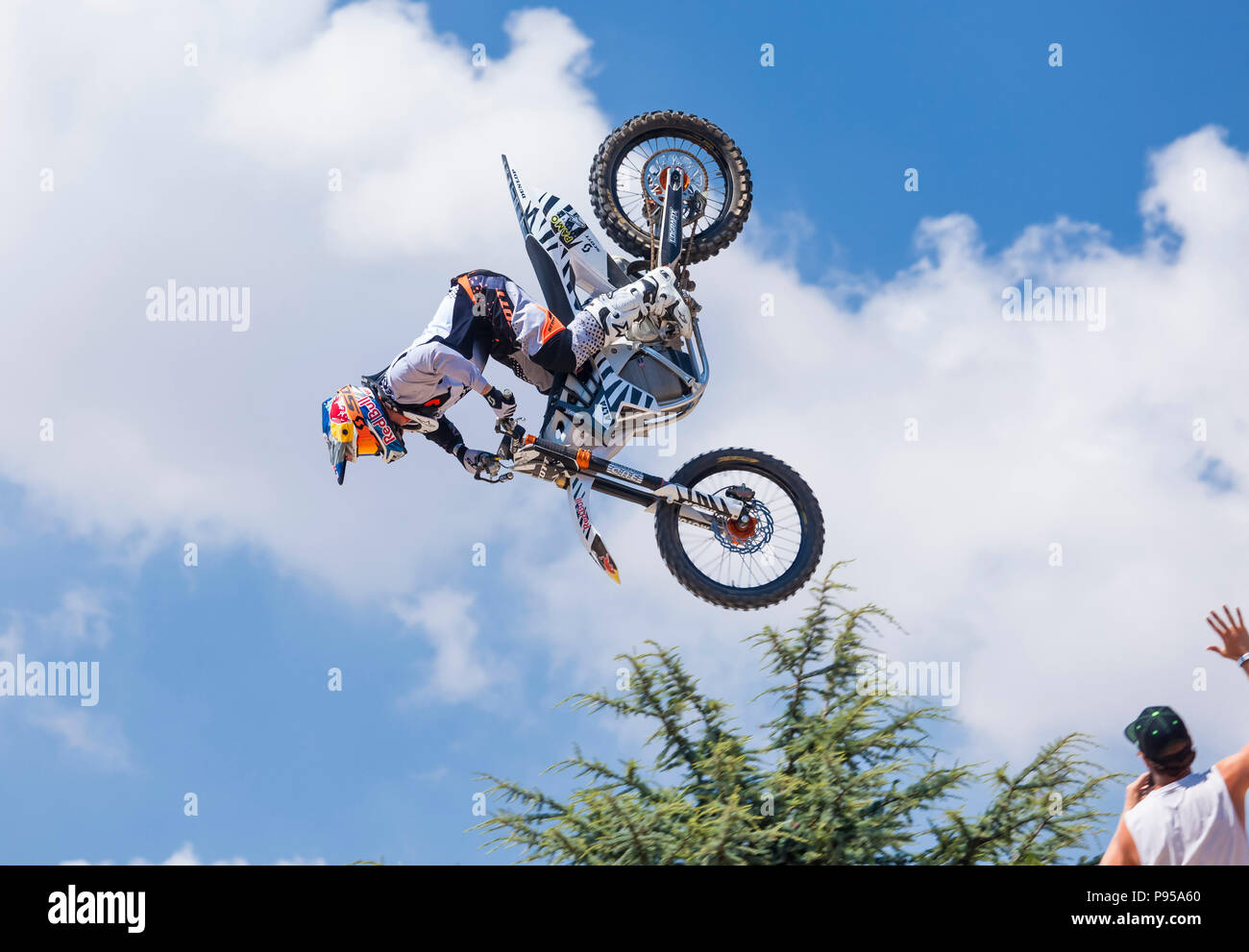 Goodwood, West Sussex, UK, 14th July 2018. Freestyle Motocross at the Gas arena Goodwood Festival of Speed. © Tony Watson/Alamy Live News - Stock Image