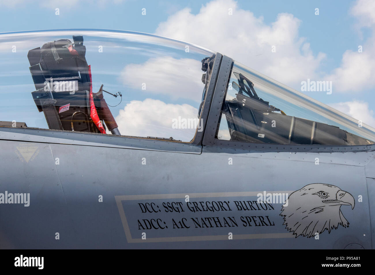 Gloucestershire, UK.14th July, 2018. Fighter jet cockpit at The Royal International Air Tattoo, RAF Fairford, Gloucestershire, United Kingdom. RIAT 2018 celebrating the 100th Anniversay Of the Royal Air Force with a massive air display at RAF Fairford in Gloucestershire. Air forces and fliers from arounf the world get together to provide stunning dislpays and areobatics for a huge record crowd of spectators. . Credit: Steve Hawkins Photography/Alamy Live News - Stock Image
