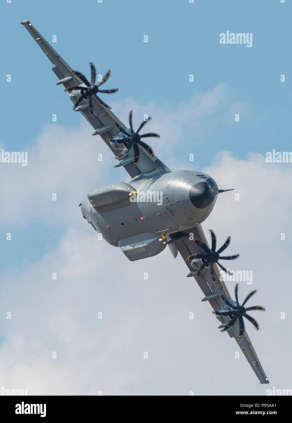 Gloucestershire, UK.14th July, 2018. Boeing A400 at The Royal International Air Tattoo, RAF Fairford, Gloucestershire, United Kingdom. RIAT 2018 celebrating the 100th Anniversay Of the Royal Air Force with a massive air display at RAF Fairford in Gloucestershire. Air forces and fliers from around the world get together to provide stunning dislpays and areobatics for a huge record crowd of spectators. . Credit: Steve Hawkins Photography/Alamy Live News - Stock Image