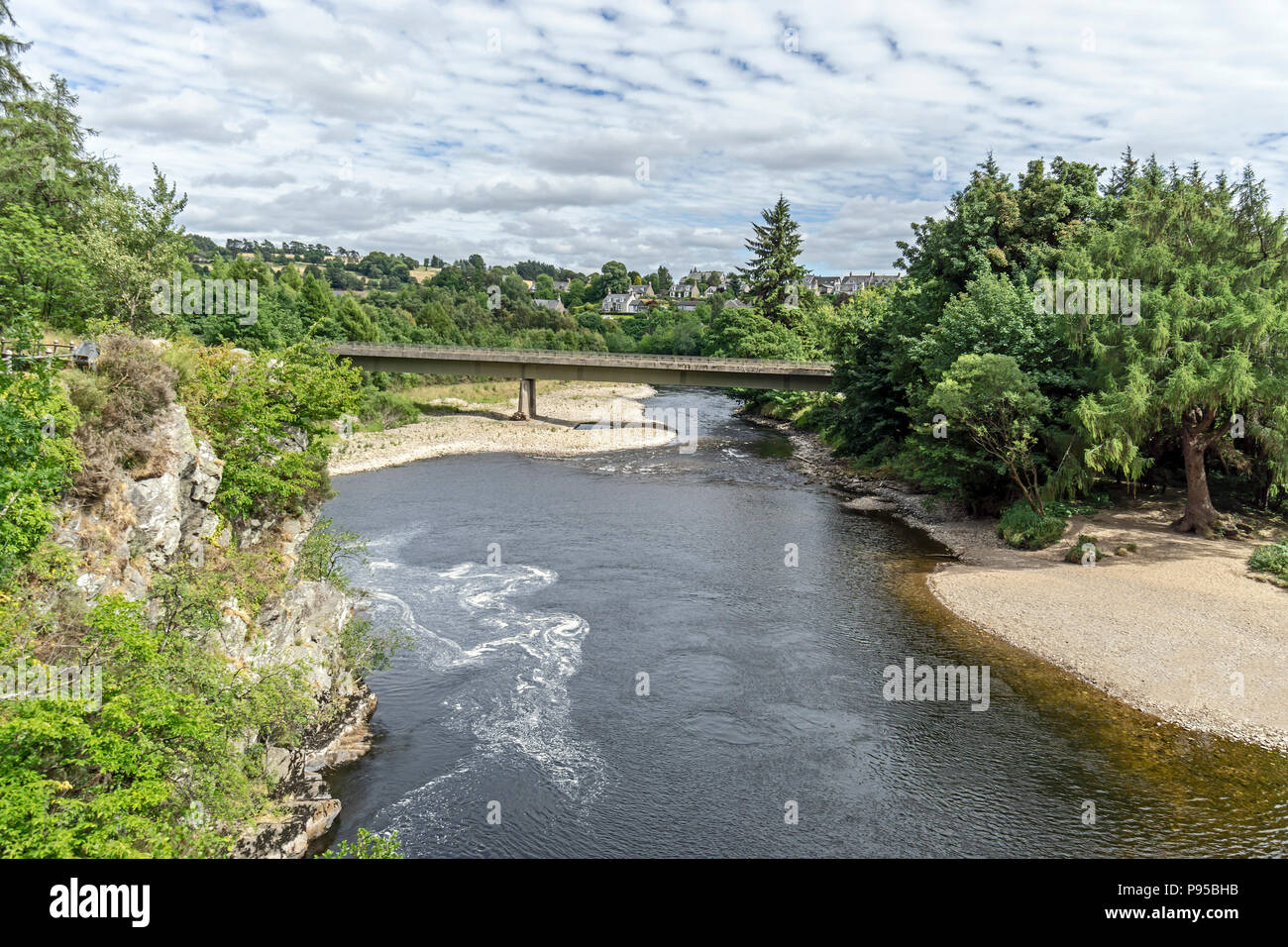 The new Craigellachie Bridge spanning the River Spey at Craigellachie near Aberlour in Moray Scotland UK - Stock Image