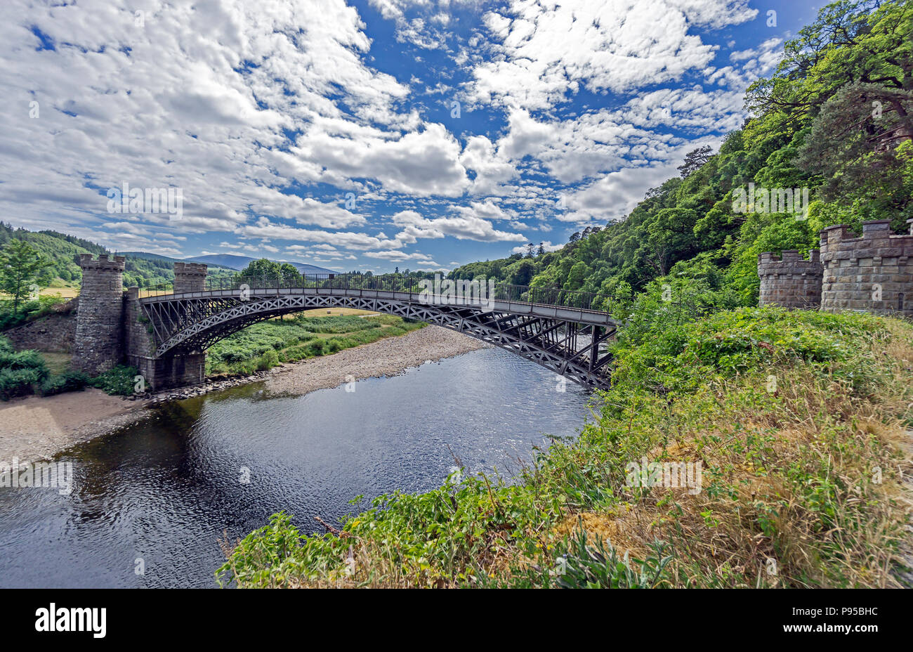The old Craigellachie Bridge spanning the River Spey at Craigellachie near Aberlour in Moray Scotland UK - Stock Image