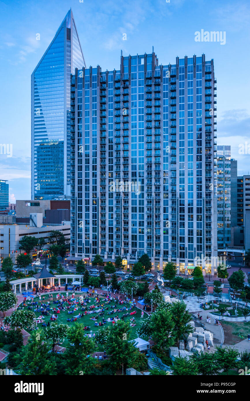Overlooking Romare Bearden Park In Uptown Charlotte At Dusk With A Concert Happening In The Park Stock Photo Alamy