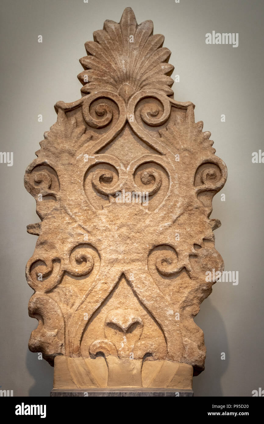 Temple Arcoterion, Island Marble, Found in Sounian, Decorated with tendrils, acanthus leaves, & anthemia, Temple of Poseidon, ca. 440 BC. - Stock Image