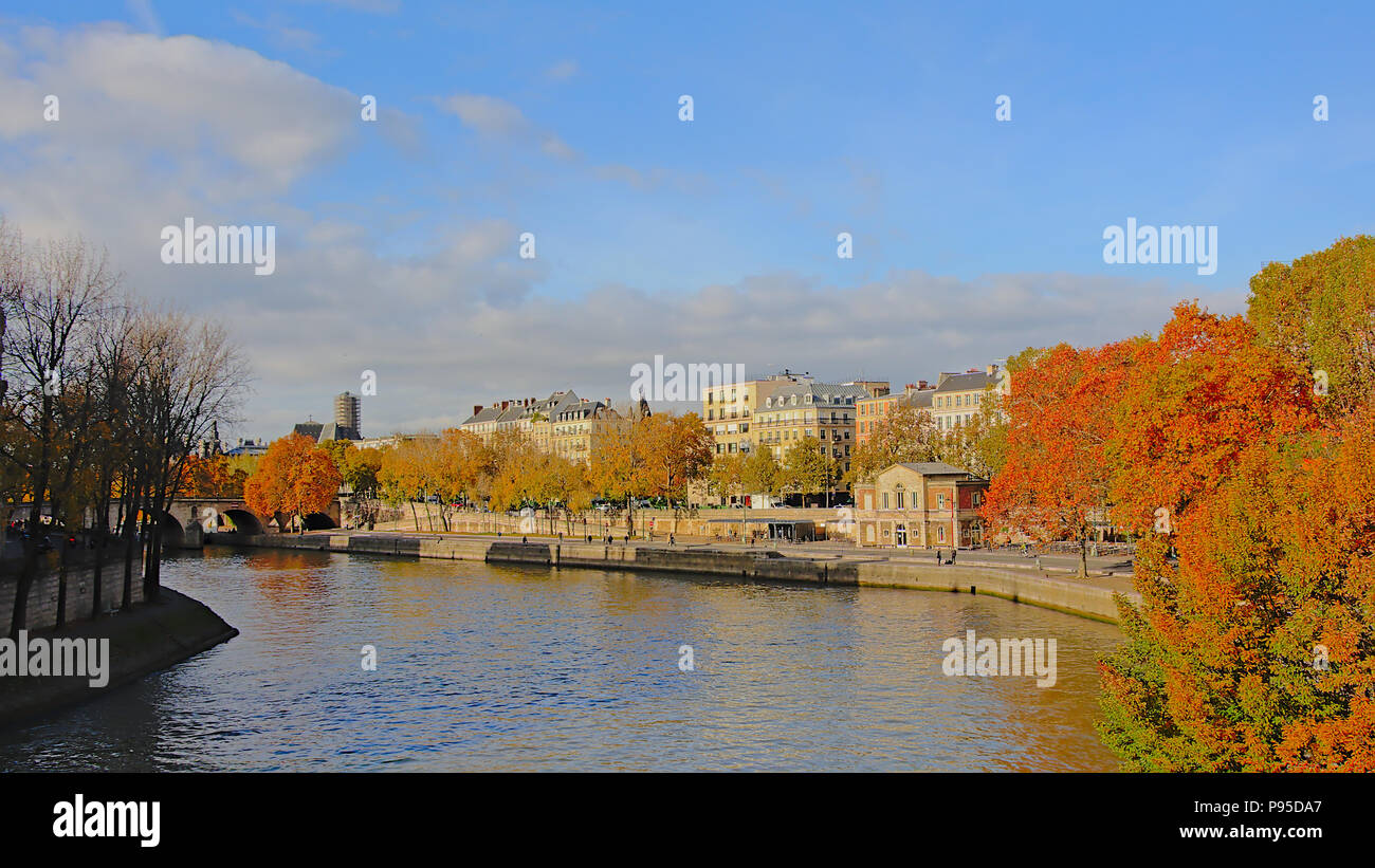 Download River Seine In Autumn, PAris, France Editorial Photography - Image of autumn, architectural: 104802767 Colorful autumn trees along river Sei - Stock Image