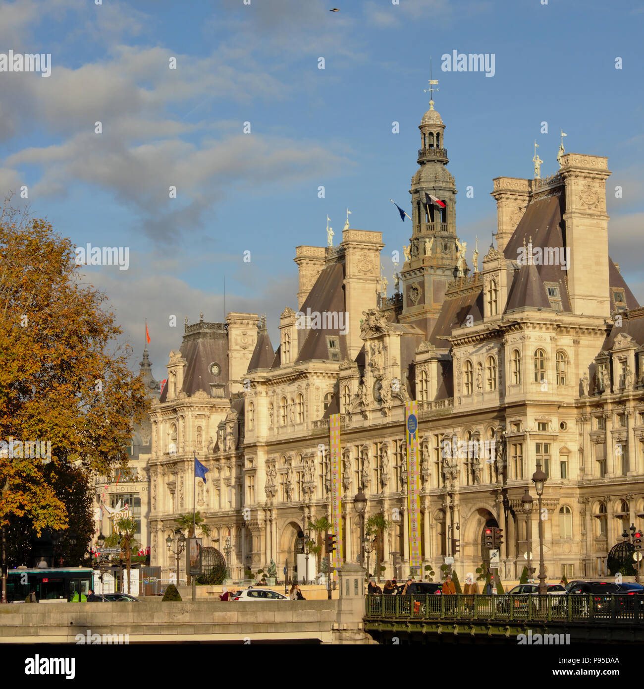 Cityhall of Paris in French Renaissance style on a sunny autumn day - Stock Image