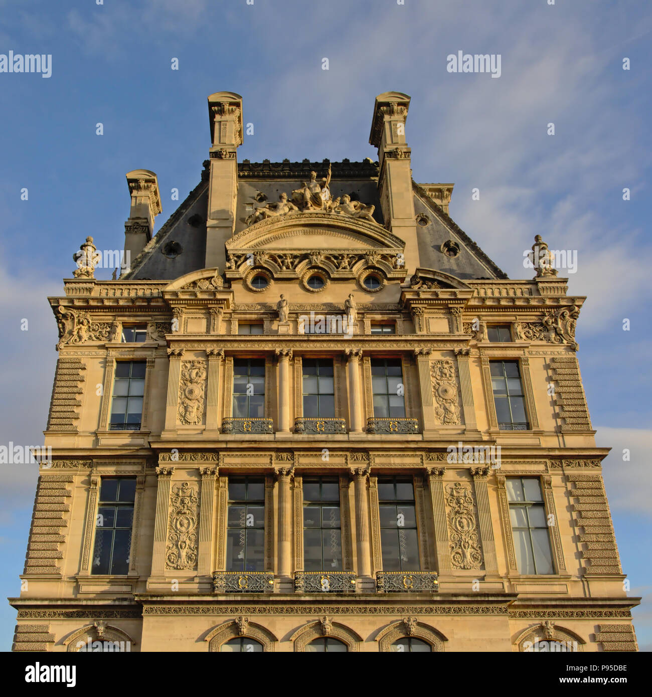 Ornate Second Empire architecture detail of the building of Ecole de Louvre, Paris, France - Stock Image