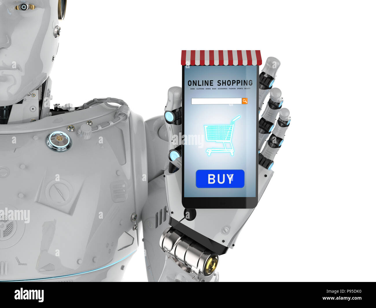 3d rendering ai robot holding mobile phone for online for 3d rendering online