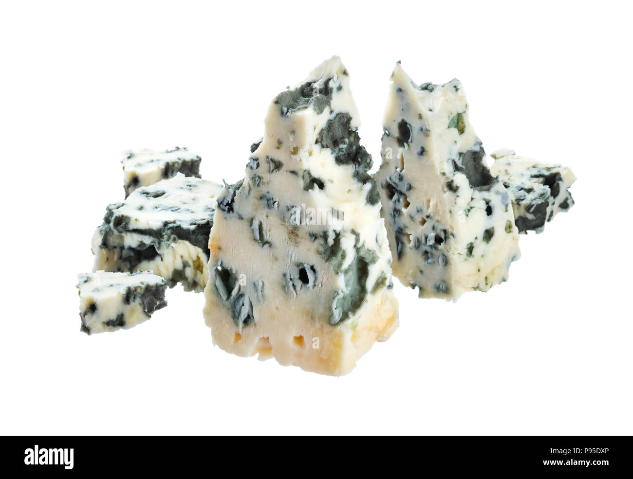 Blue cheese isolated on white background with clipping path - Stock Image
