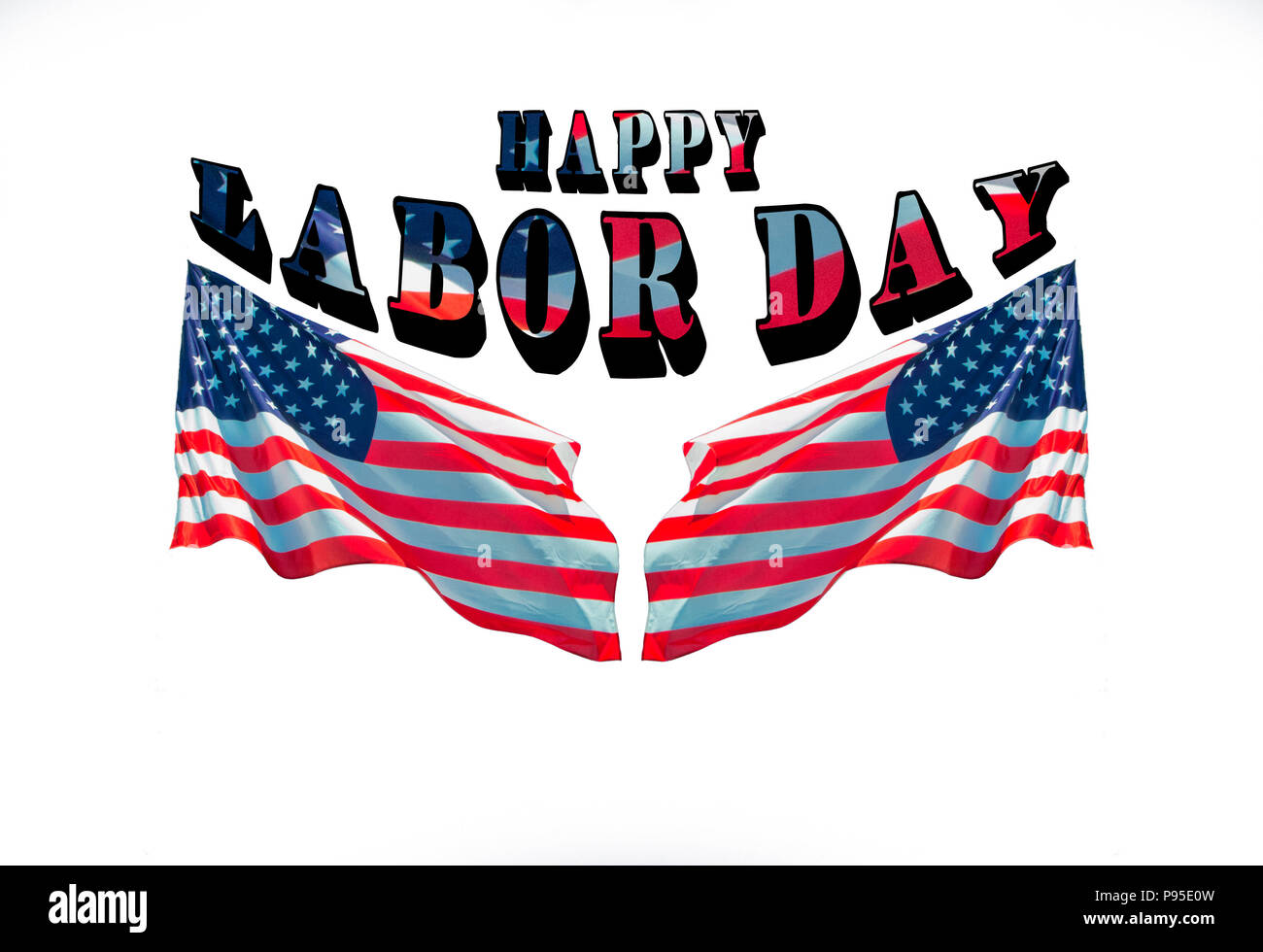Happy Labor Day With Two American Flags Greeting Cards For National