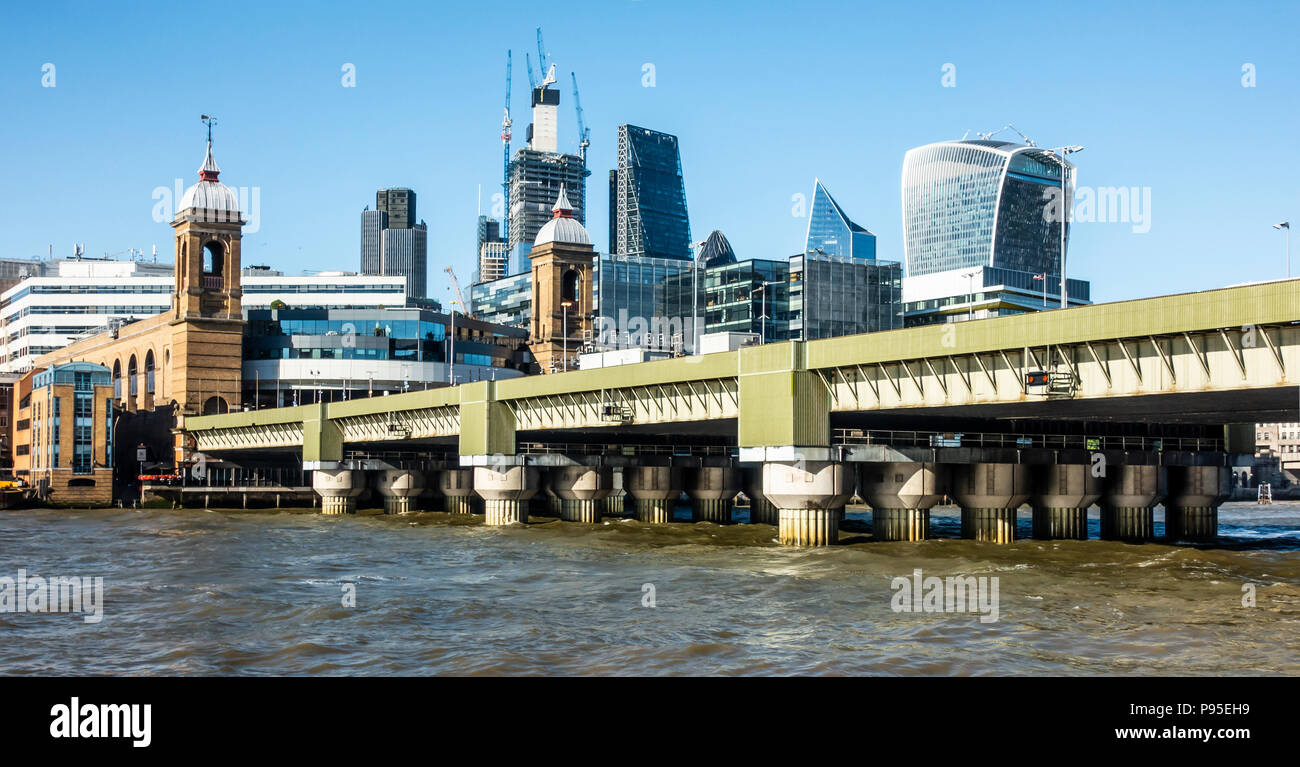 Cannon Street Railway Bridge over the Thames in London, Tower 42, The Leadenhall Building, 20 Fenchurch, The Scalpel, Cannon Street Station - Stock Image