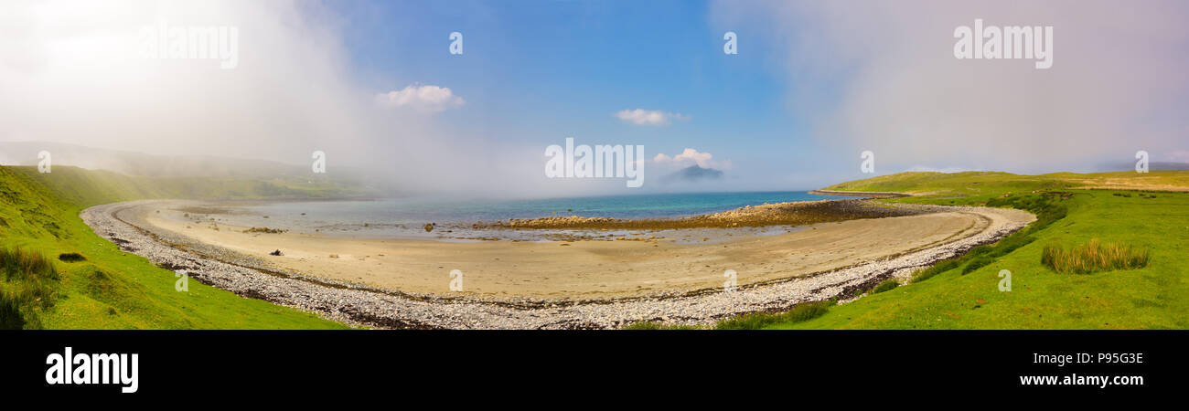 Panoramic of a secluded beach on the Isle of Skye - Stock Image