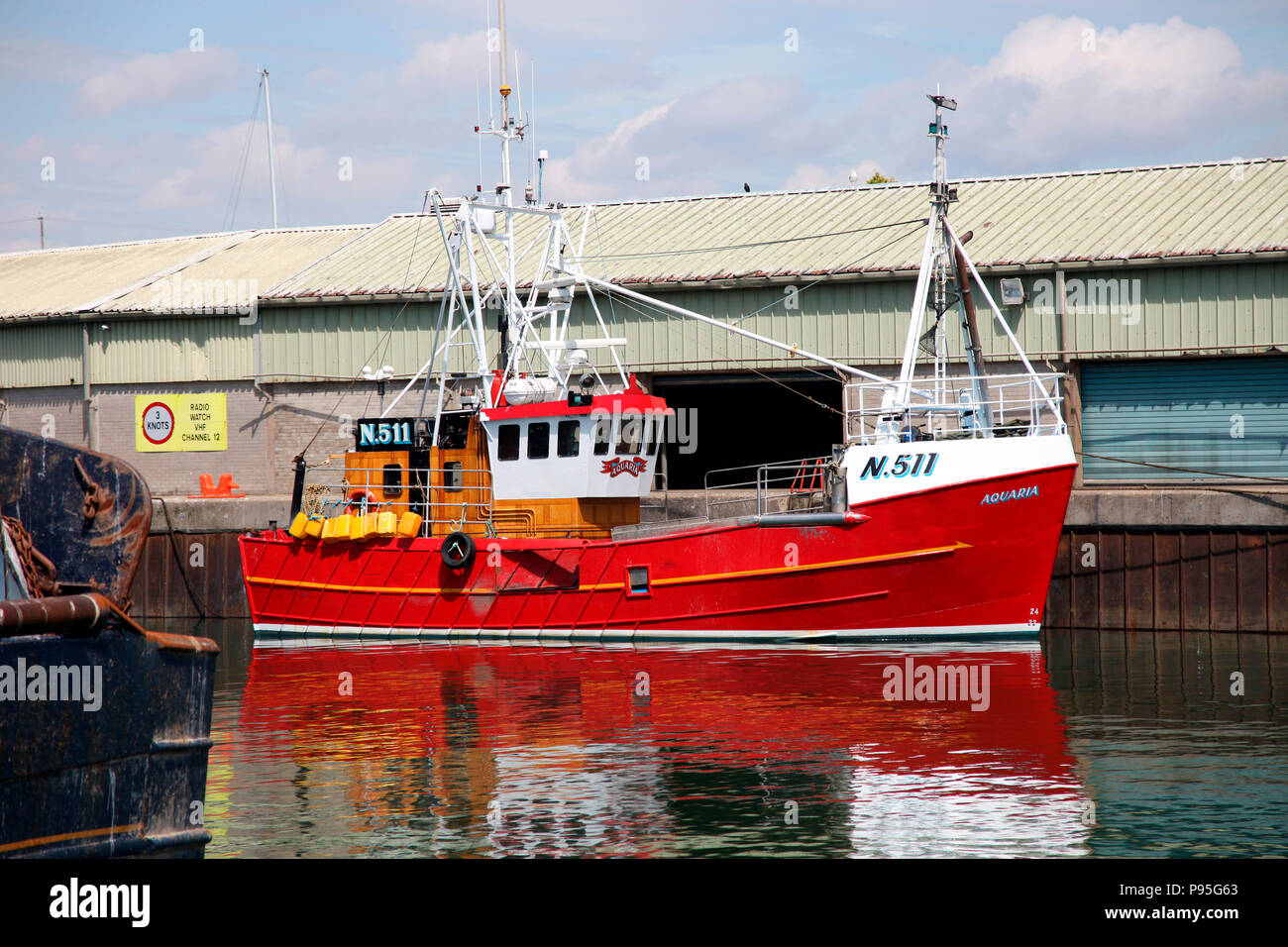 The fishing trawler Arcadia, docked in Kilkeel Harbour, home to Northern Ireland's largest fishing fleet - Stock Image
