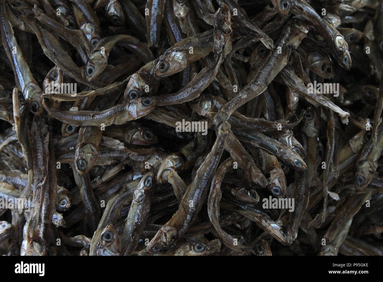 Dried fish in a market in Labuan Bajo, Flores, Indonesia - Stock Image