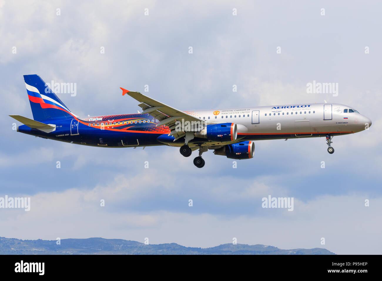 Genf/Switzerland June 20, 2018: Airbus A321 `E. Vakhtangov` VP-BTL Aeroflot at Genf Airport. - Stock Image