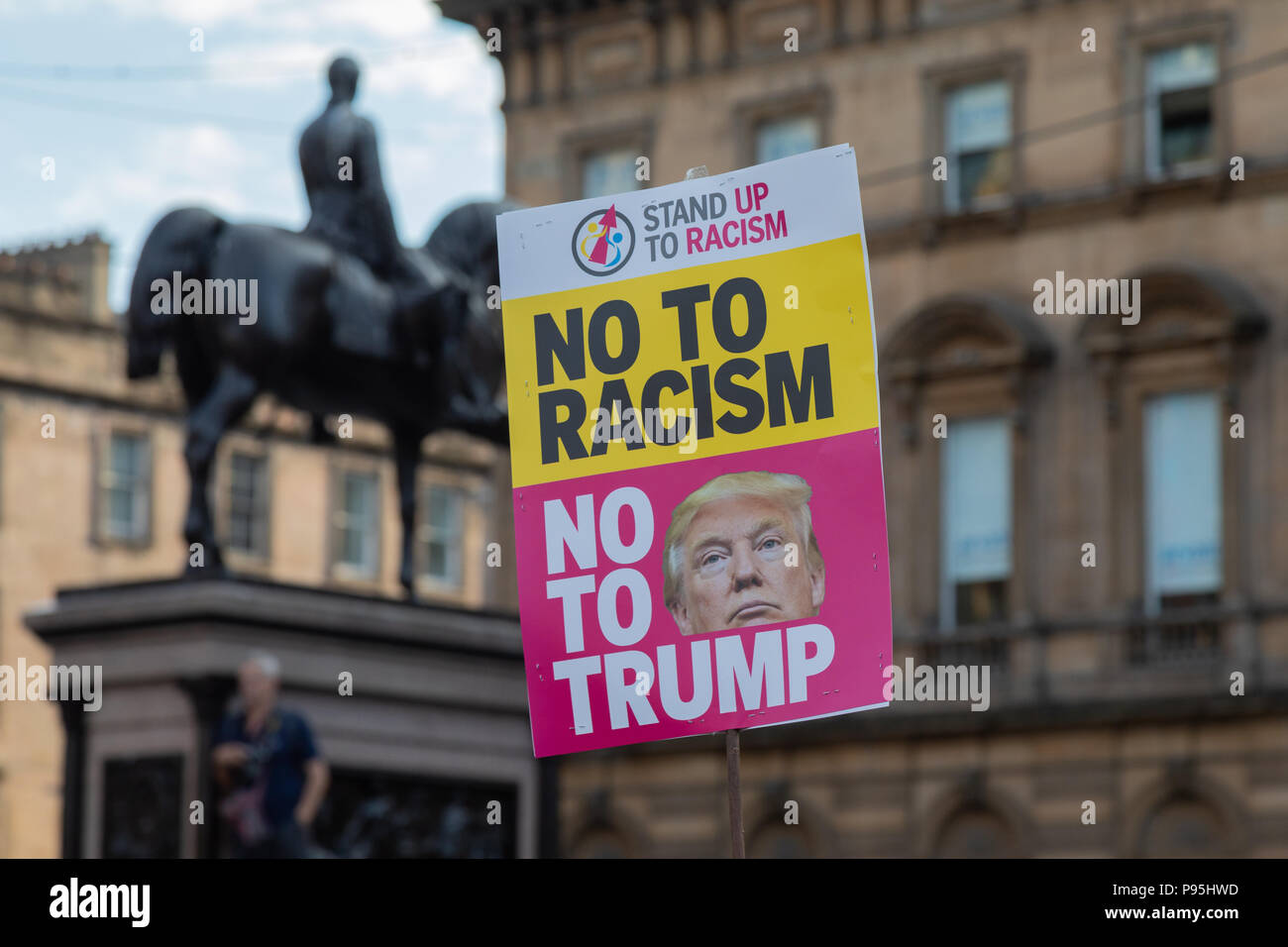An anti Trump placard at George Square in Glasgow during Donald Trumps visit to Scotland in July 2018 - Stock Image
