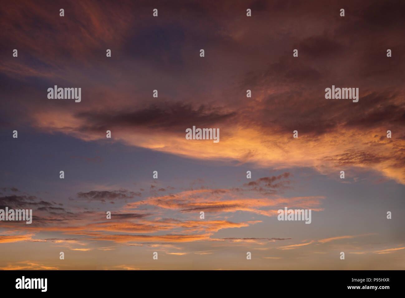 Orange sunset over Chicago - Stock Image