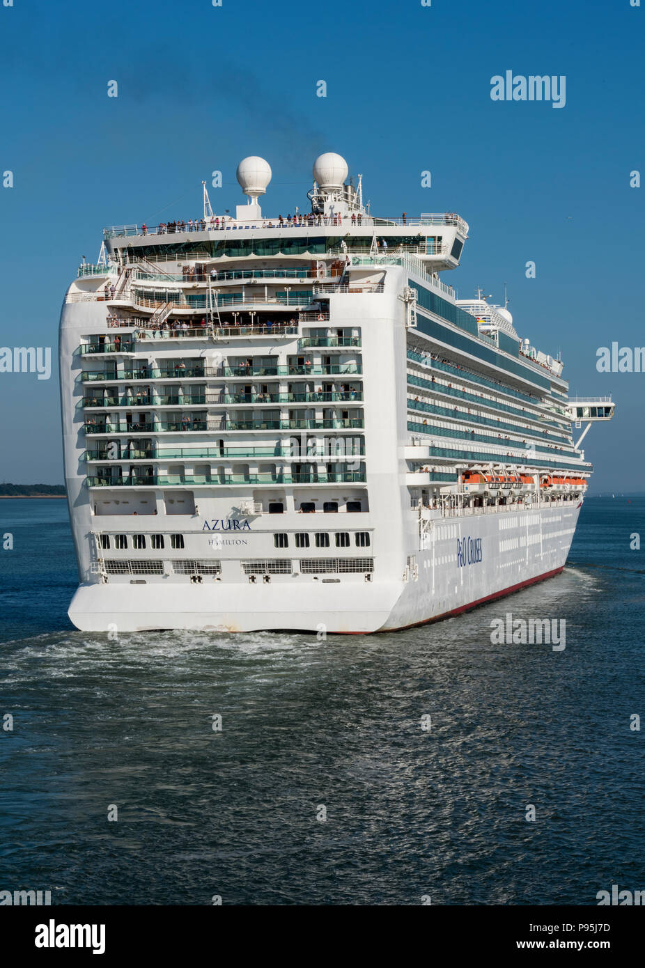 the p and o cruise ocean liner azura at the port of Southampton, England, uk. - Stock Image