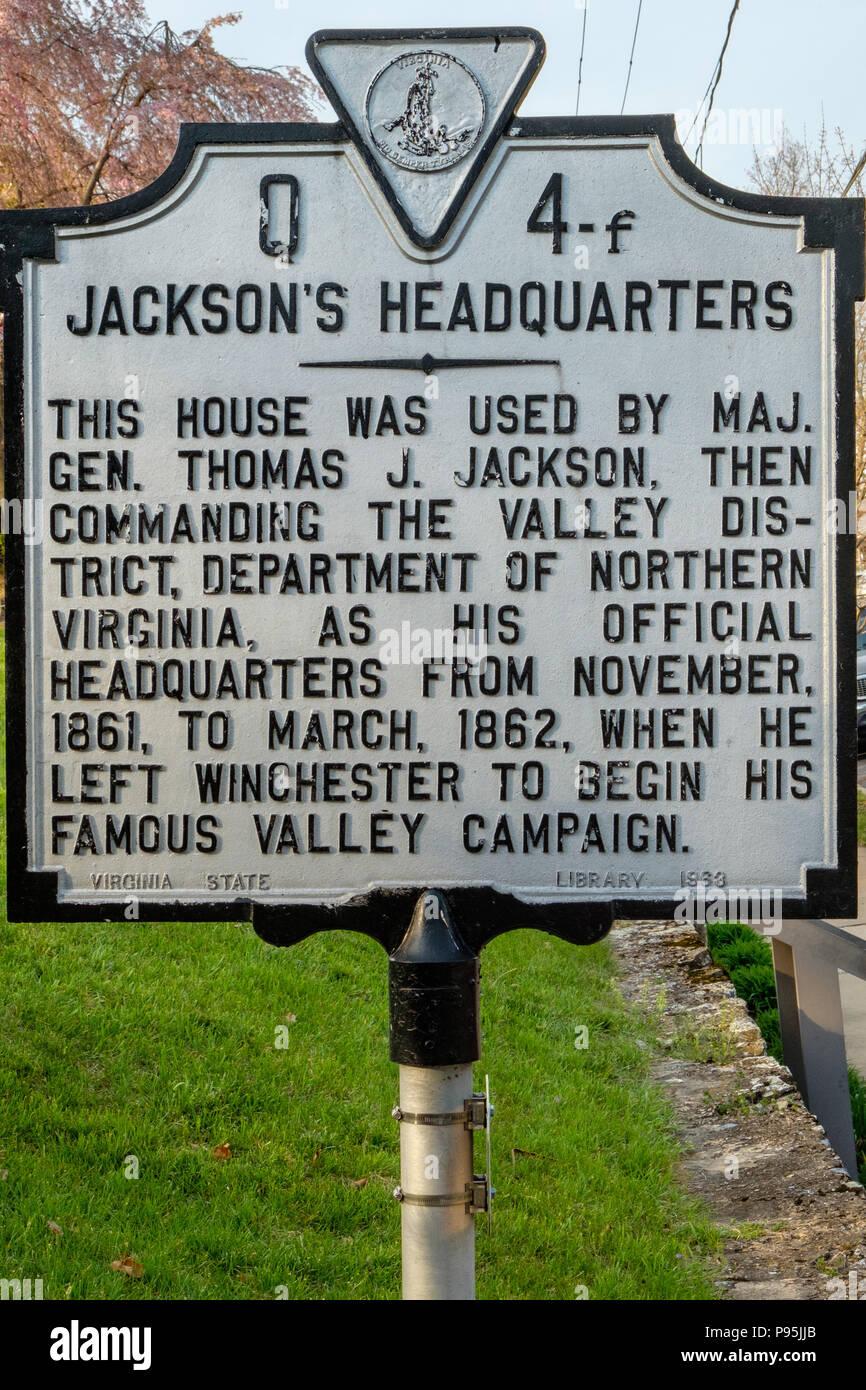 Stonewall Jackson's Headquarters, 415 North Braddock Street, Winchester, Virginia - Stock Image