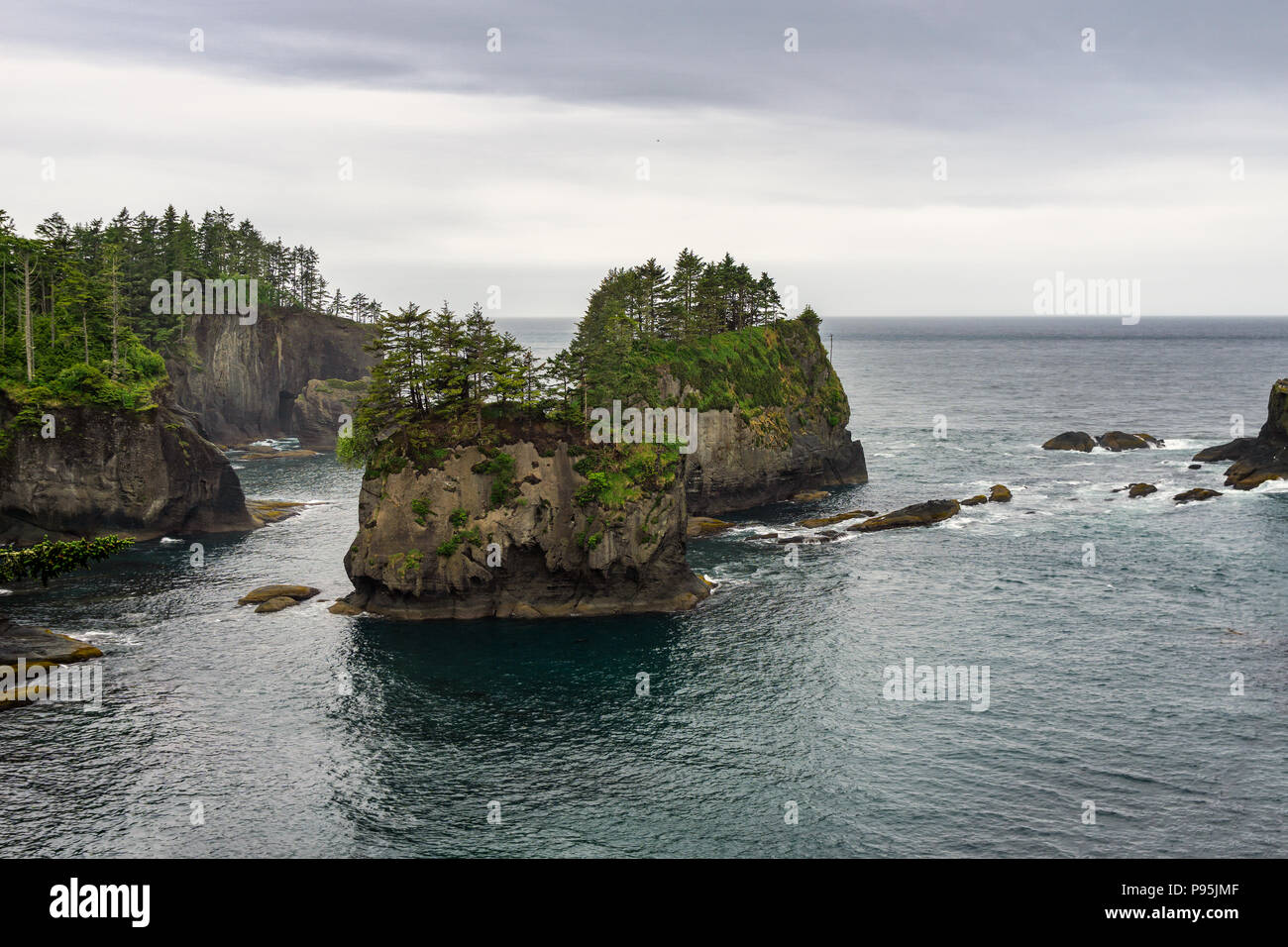 Iconic sea stacks of Cape Flattery, furthest northwest location in the continental US, Makah reservation, Olympic peninsula, Washington State, USA. - Stock Image