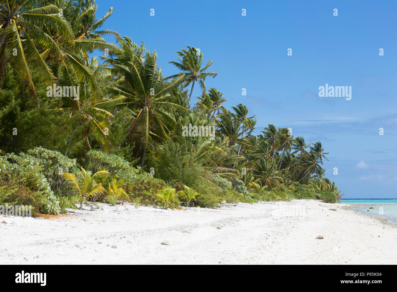 Beach on Palmerston Island, Cook Islands - Stock Image