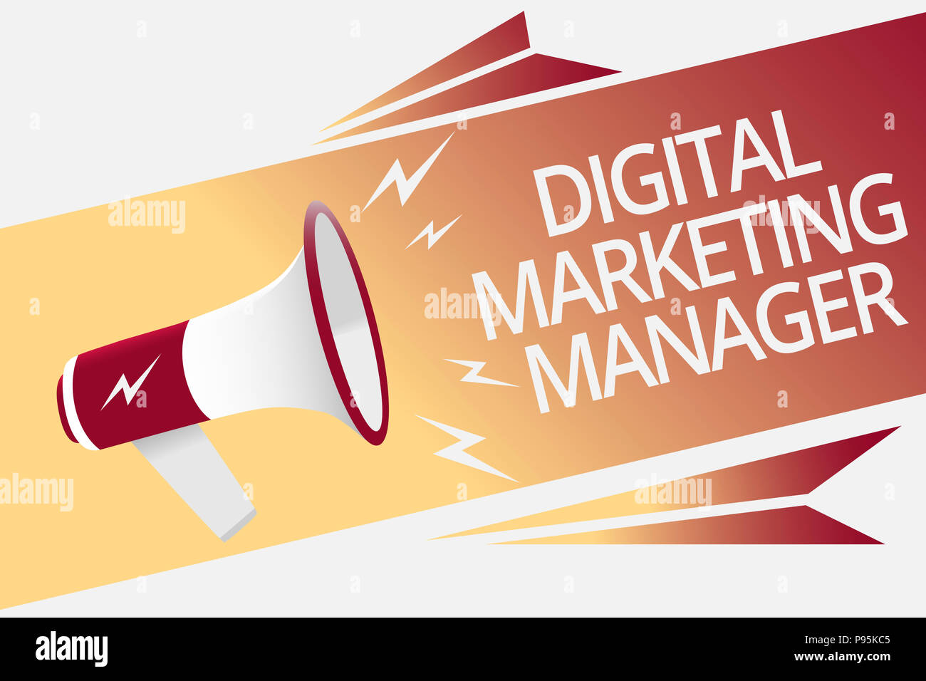 Conceptual hand writing showing Digital Marketing Manager. Business photo text optimized for posting in online boards or careers Megaphone loudspeaker - Stock Image