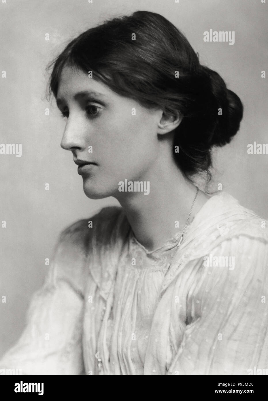 Portrait of Virginia Woolf (January 25, 1882 -  March 28, 1941), a British author and feminist, with her chignon. 1902 - Stock Image