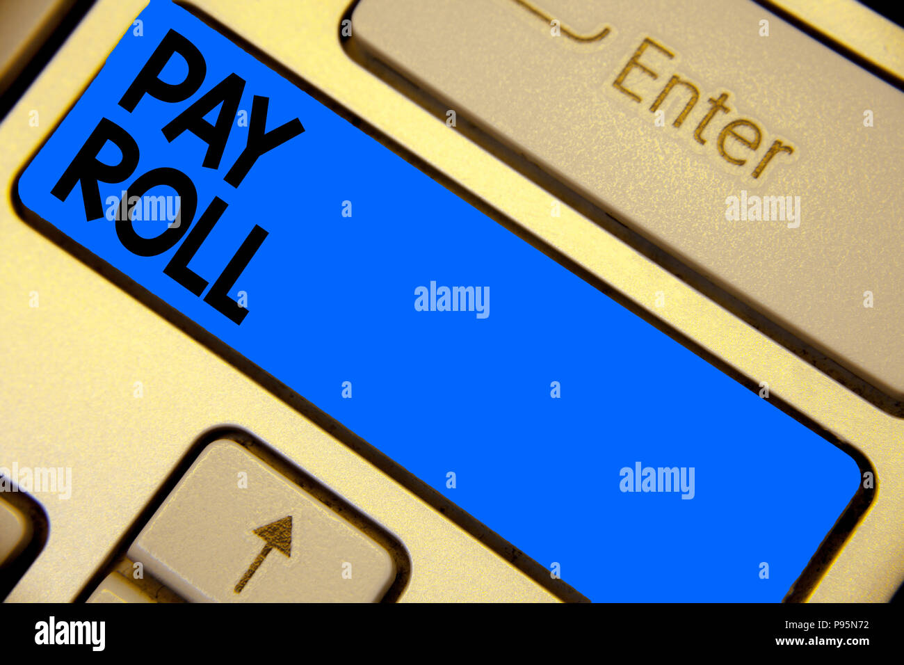 Handwriting text writing Pay Roll. Concept meaning Amount of wages and salaries paid by a company to its employees Keyboard blue key Intention create  - Stock Image