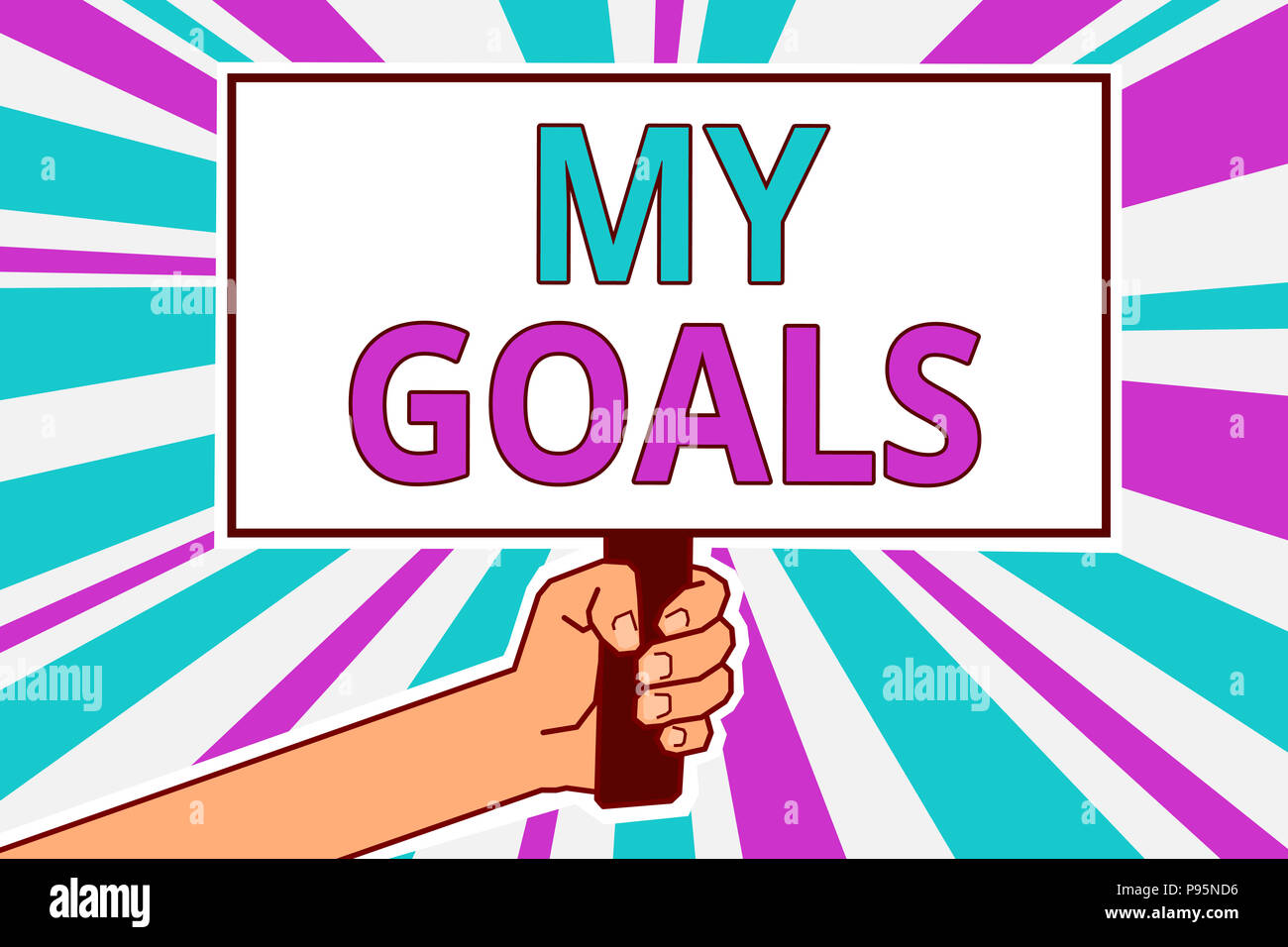 Conceptual hand writing showing My Goals. Business photo showcasing Future or desired result that a person commits to achieve Man hold board idea refl - Stock Image