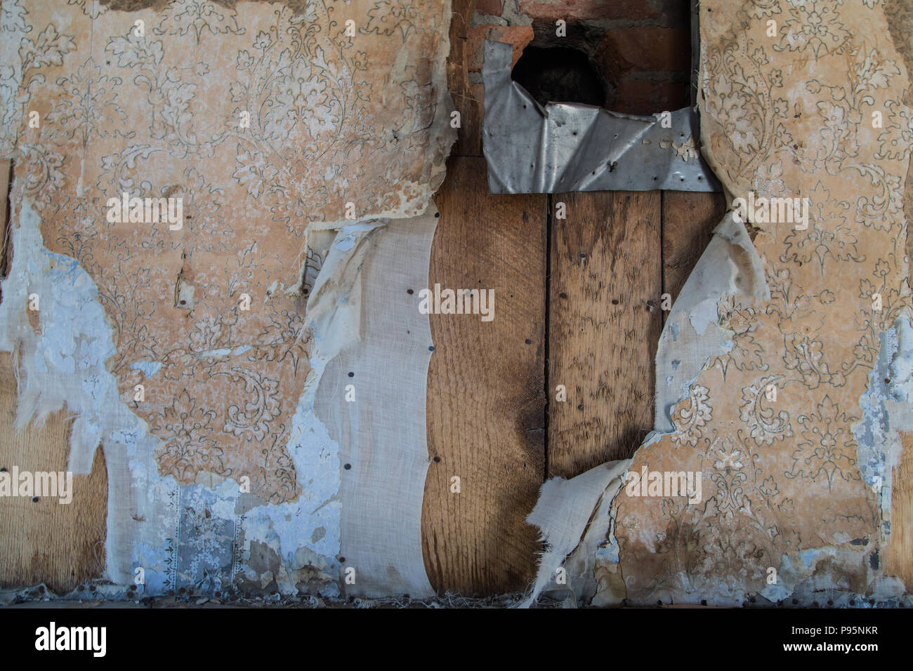 cracked wallpaper in an abandoned home in bodie, california, the