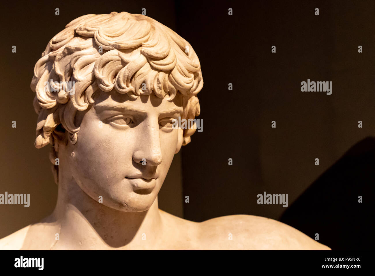 Portrait Antinoos of Bithynia, Thasian Marble, Found at Patras, Hadrian Period, 130-138 AD. - Stock Image