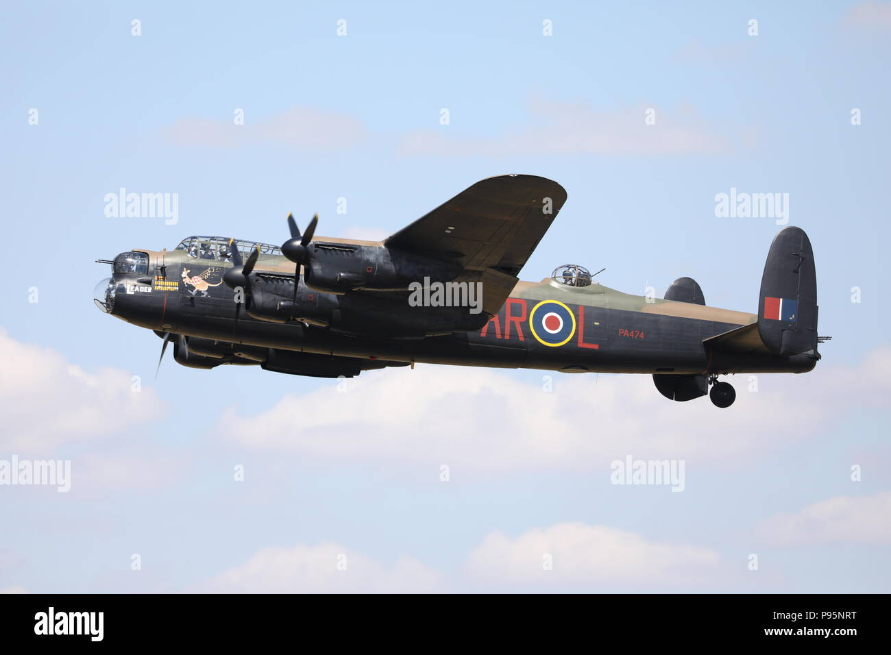 RAF Avro Lancaster Bomber Fairford RIAT Sunday 15th July 2018 Military Aeroplane Royal International Air Tattoo RAF100 PA474 Stock Photo