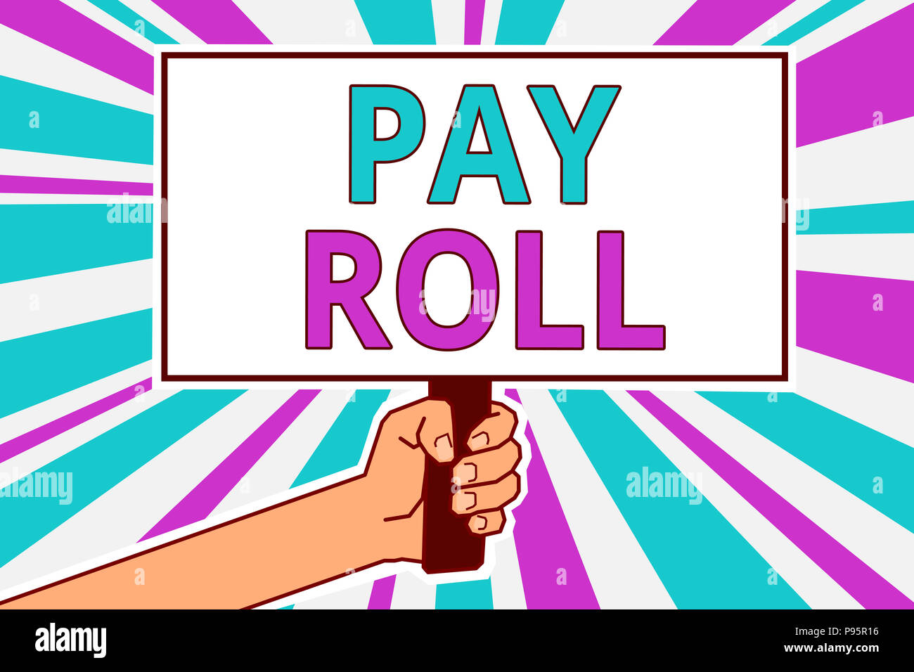 Conceptual hand writing showing Pay Roll. Business photo showcasing Amount of wages and salaries paid by a company to its employees Man hold board ide - Stock Image