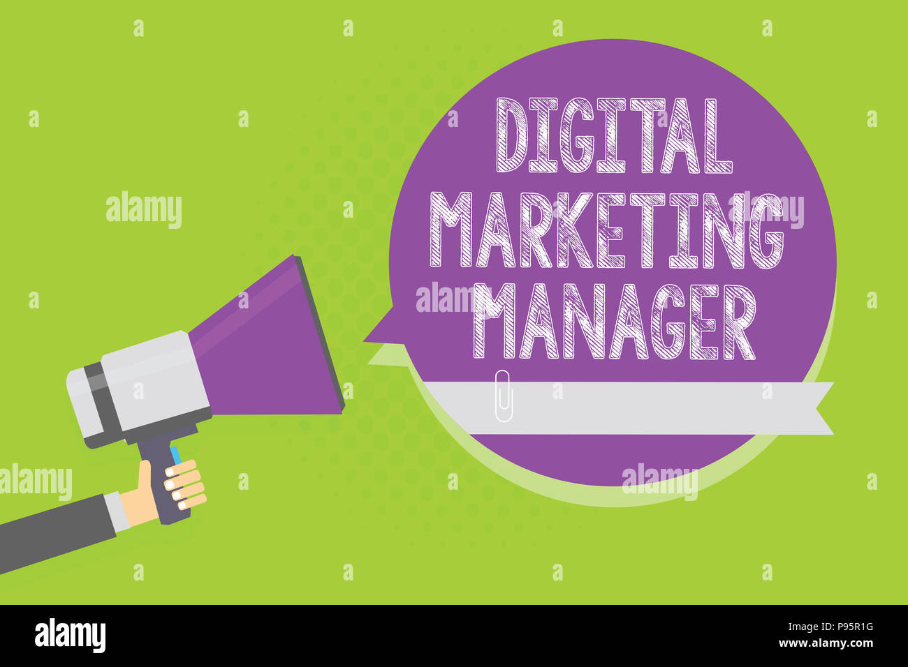Word writing text Digital Marketing Manager. Business concept for optimized for posting in online boards or careers Man holding megaphone loudspeaker  - Stock Image