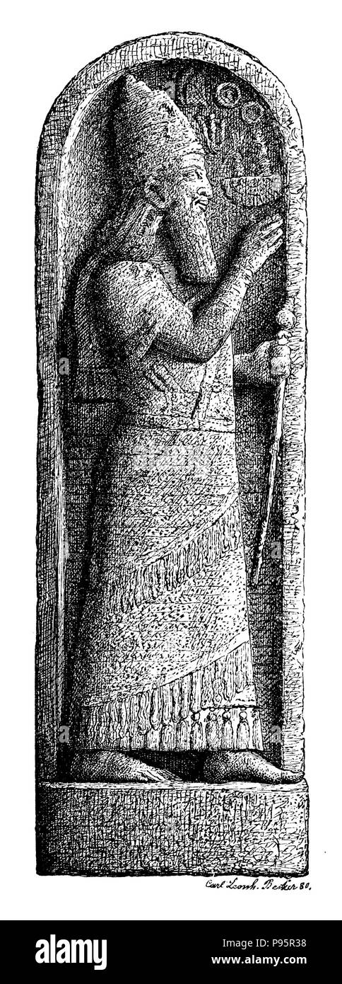Memorial stone of King Sargon with his portrait and a wedge inscription, after which he received the tribute of the 7 kings of Cyprus. After the original in the Berlin Museum,   1899 - Stock Image